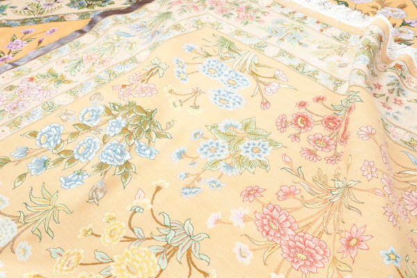 Persian Tabriz Floral Carpet with allover design and motif throughout. Handwoven in Iran from fine silk and wool. Approx Standard Area Size (10x8ft) Colours: Light complexion in Yellow.