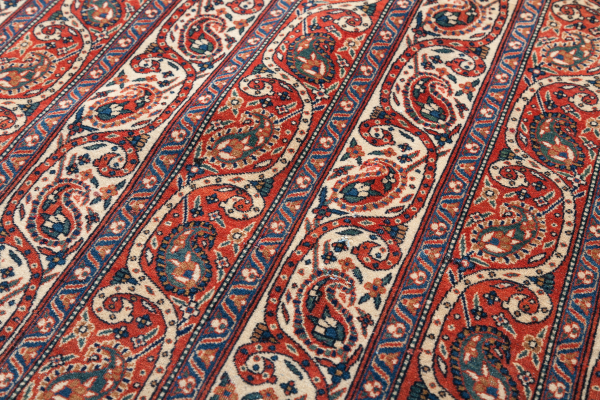Fine Persian Isfahan Rug - Striped with Paisley motif Approx 2x1.5m (7x5ft) Neutral complexion on red base with blue and white accents