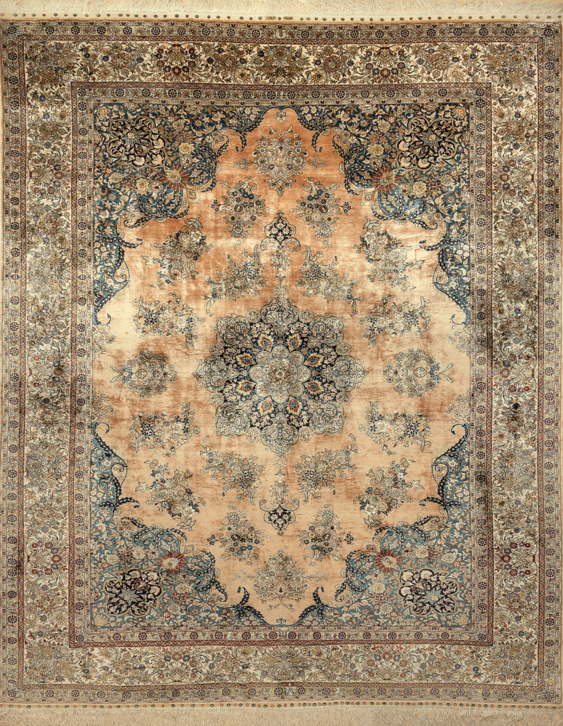 Fine Pure Silk Hereke Signed Carpet Handwoven in Turkey - Central Medallion - Approx 3.5x3m (11x9ft) Light complexion and soft colour palette