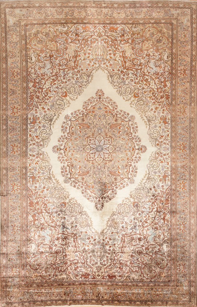 Pure Silk Fine Hereke Carpet Handwoven in Turkey - Oversized Central Medallion - Approx 3.5x2.5m (12x8ft) - Light complexion