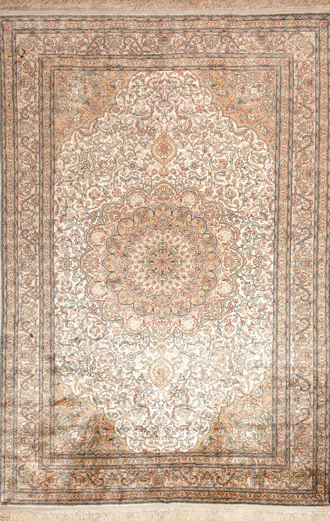 Hereke Turkey Pure Silk - Fine Carpet - Central Medallion - Approx 3x2m (10x7ft) - Light complexion with soft complementary colours throughout