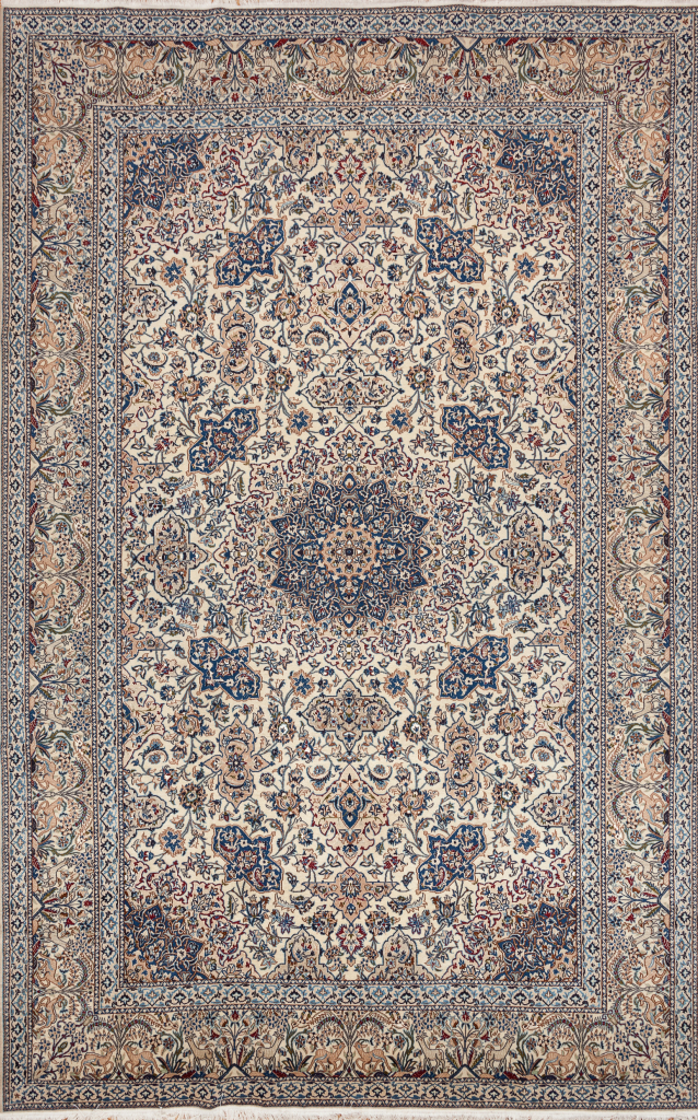 Fine Persian Nain Silk and Wool Carpet Central Medallion Approx 4x2.5m (13x8ft) Neutral complexion with interplay of rich blue and pink tones on ivory base