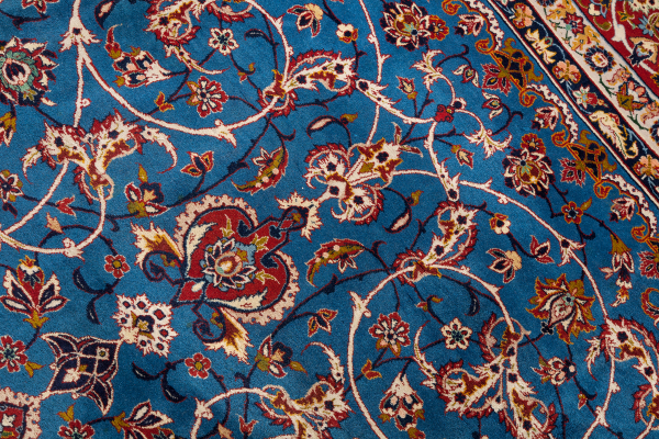 Signed Persian Isfahan Rug - Silk and Wool - Central Medallion