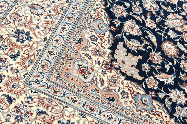 Old Persian Tudeshk Carpet - Fine Silk and Wool - Central Medallion