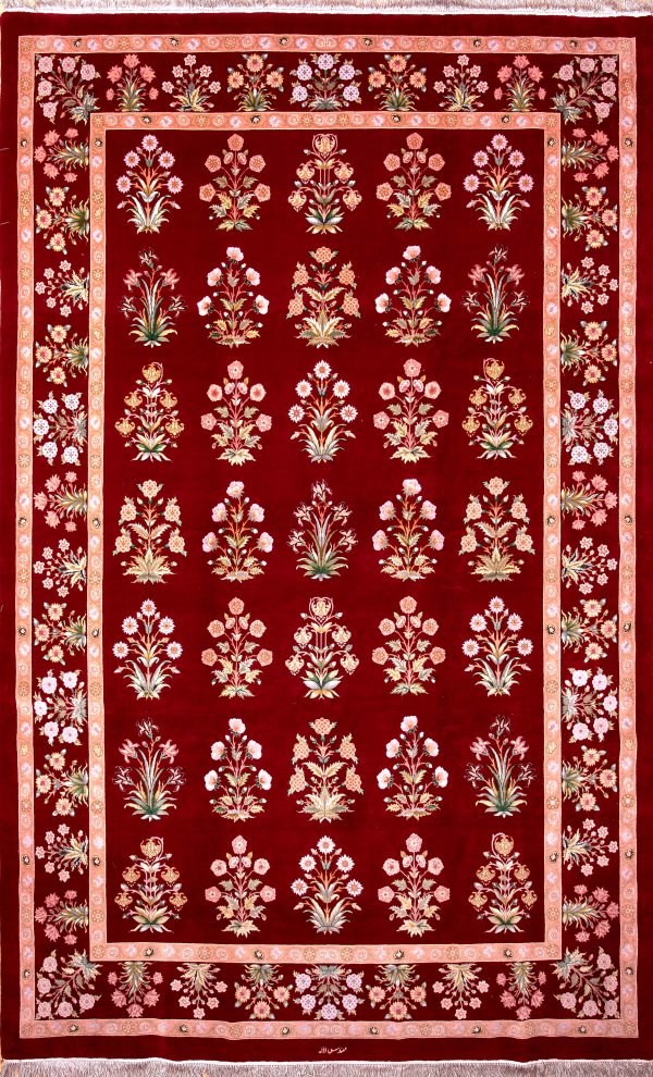 Persian Tabriz Allover Carpet - Signed - Silk and Wool